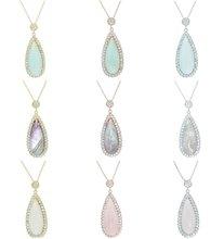 Женское ожерелье с подвеской разноцветными кристаллами