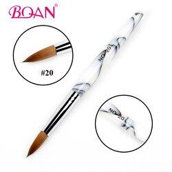 BQAN 1Pc #20 pur Kolinsky Sable cheveux acrylique brosse à ongles cristal Art des ongles pinceau acrylique poignée manucure outil d'art des ongles