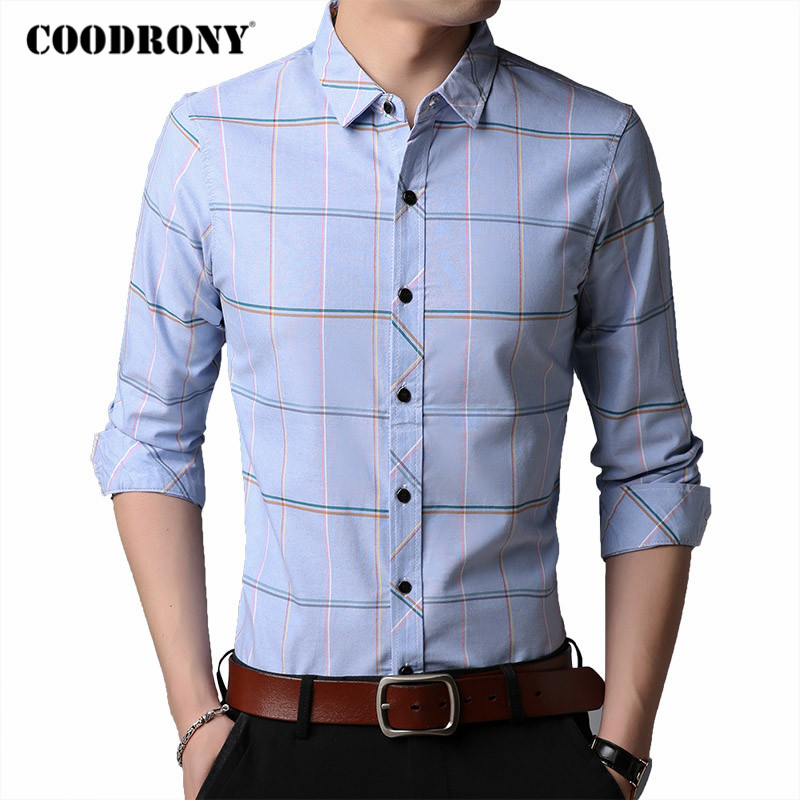 COODRONY Brand 100% Pure Cotton Long Sleeve Shirt Men Spring Autumn Business Casual Plaid Shirts Mens Social Chemise Homme C6033