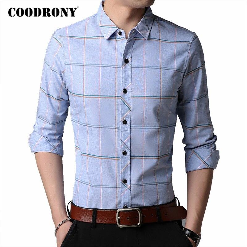 COODRONY Brand 100% Pure Cotton Long Sleeve Shirt Men Spring Autumn Business Casual Plaid Shirts Mens Social Chemise Homme C6033