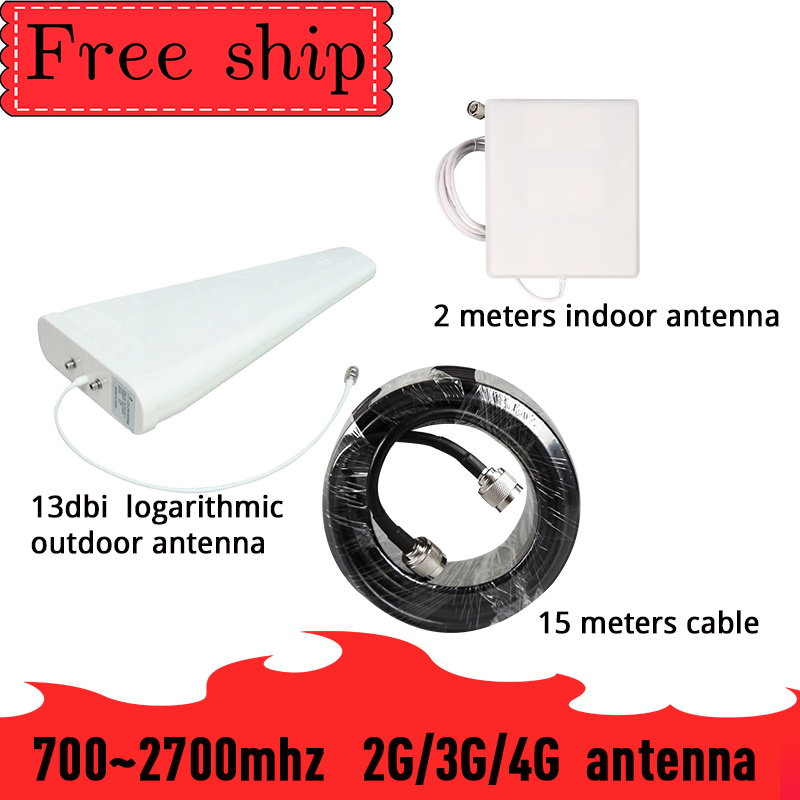 Outside Gain 13dbi Log Antenna CDMA UMTS GSM 700~2700 Mhz  Gain 9dbi For Cell Phone Booster Repeater Panel Antenna With 2m Cable