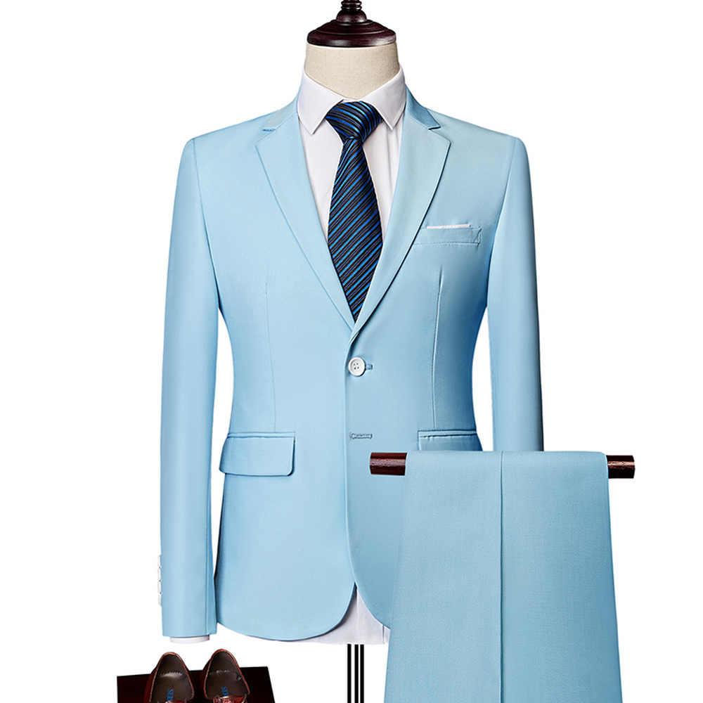 ブレザーパンツセット 2019 新ファッション新郎のウェディングドレスのスーツカジュアルビジネス 2 ピーススーツのジャケットコートズボン m-6XL