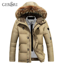Casual winter jacket mens down cotton high quality men hooded fur collar zipper clothing male