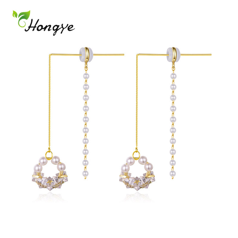 Hongye 2020 New Multi-Pearl Drop Earrings for Women Fashion Gold Silver Color Metal Girls AAA Zircon Party Brincos Fine Jewelry