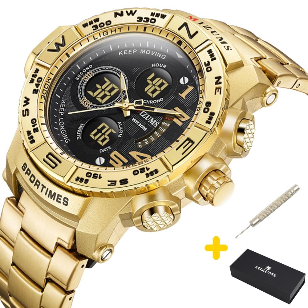 Mizums Brand Quartz Watch Men's Sport Watches Men Steel Band Military Clock Waterproof Gold LED Digital Watch Relogio Masculino