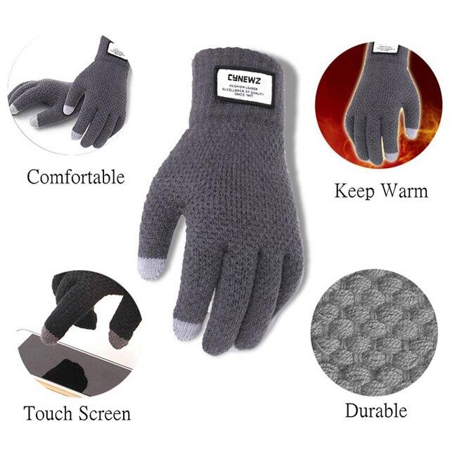Зимние вязаные перчатки мужские для сенсорного экрана 4