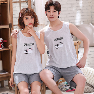 Image 4 - Женский пижамный комплект для пар, Летний жилет, пижама, Хлопковая женская одежда для сна, мужская Милая Пижама с героями мультфильмов