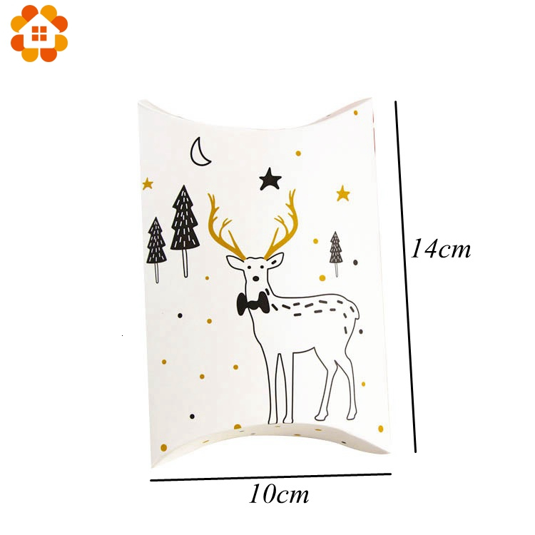 1set House Shape Christmas Candy Gift Bags With Ropes Xmas Tree Cookie Bags Merry Christmas Guests Packaging Boxes Party Decor 5
