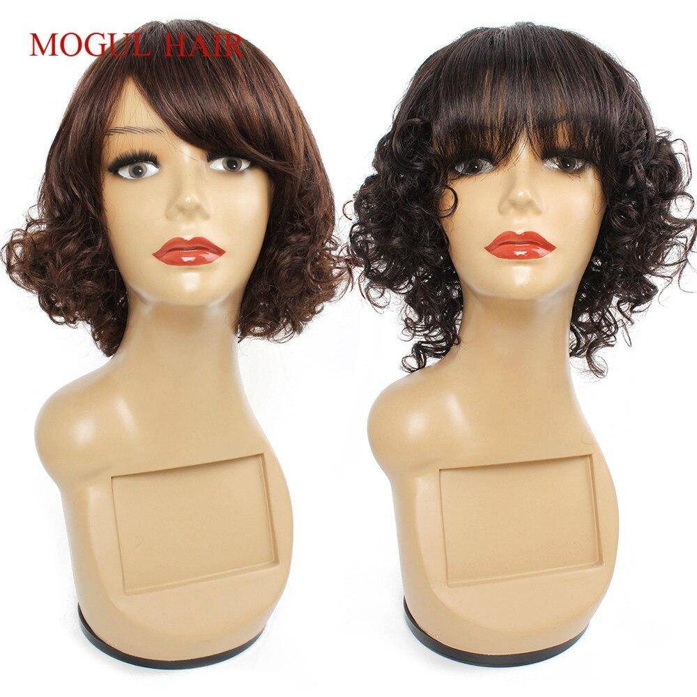 Mogul Hair Human Hair Wigs With Bang Machine Made Wig Silk Base Crown Wig Short Hair Style Brazilian Non-Remy Human Hair