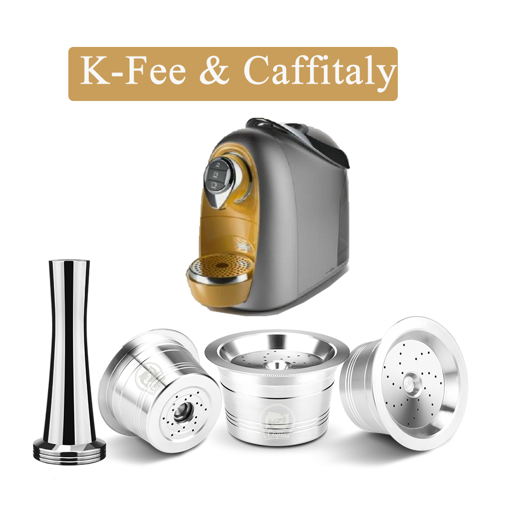 ICafilas Refillable Coffee Capsule Pod For K-fee Reusable Cafe Filters For Tchibo Cafissimo Classic Machine With Tamper