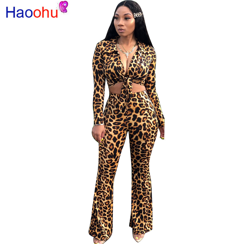 <font><b>Sexy</b></font> Leopard Two Piece Outfits Long Sleeve <font><b>Bandage</b></font> Crop <font><b>Top</b></font>+Flare Pants Set Streetwear Fall 2019 Women <font><b>Festival</b></font> Clothing image
