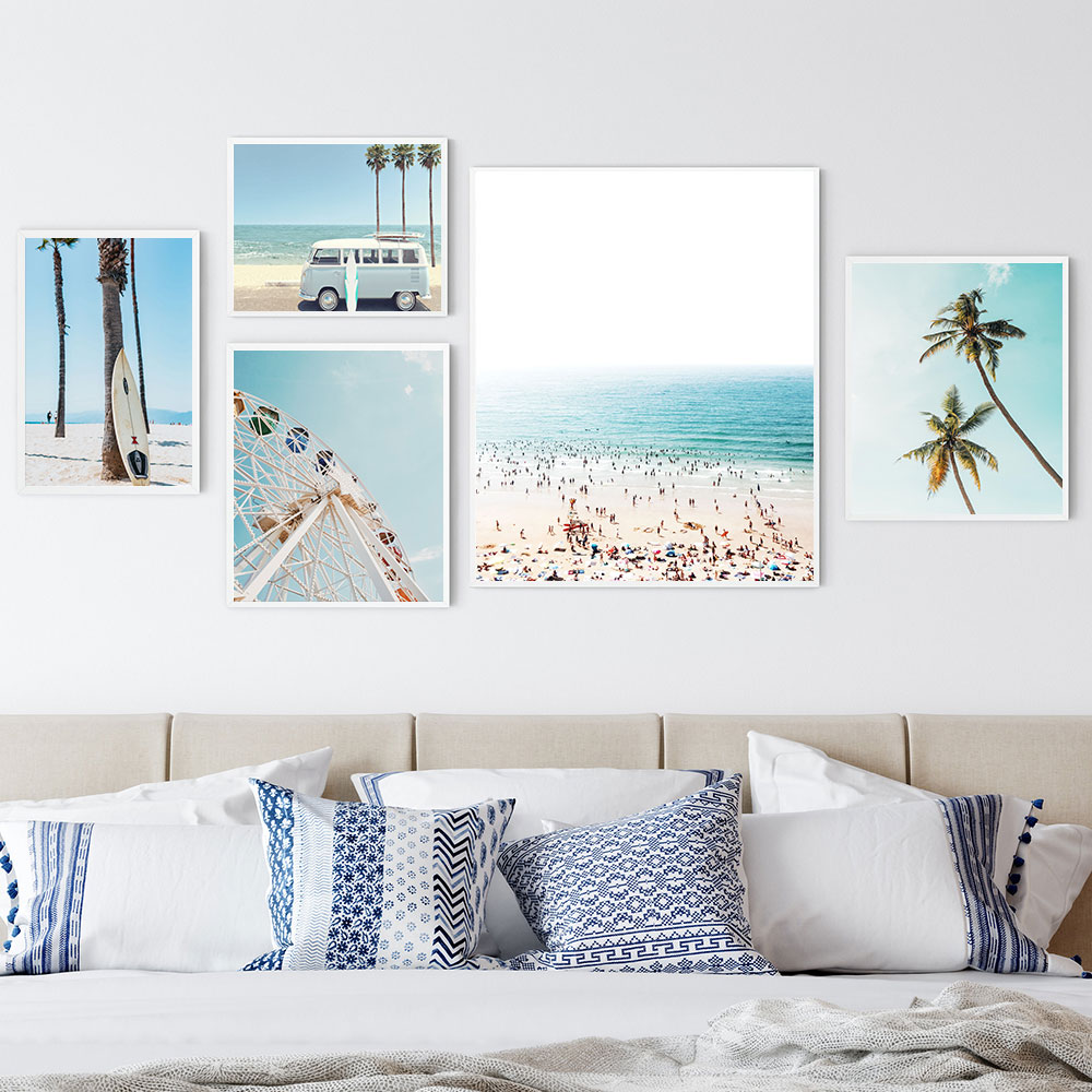 California Beach Van Canvas Painting Ferris Wheel Print Tropical Palm Poster Pastel Color Wall Art Nordic Decoration Pictures