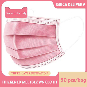 10-500 Pcs Pink Face Mask Disposable Non-woven 3-layer mask Breathable With Elastic Earband Breathable Adult Mouth Mask