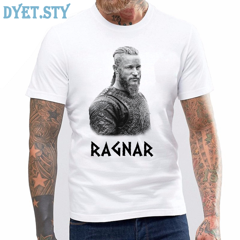 T Shirt Summer Vikings TV Series Odin's Raven Ragnar Lodbrok White Summer sportwear casual t-shirt ringer Tee