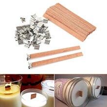 F #100 Uds.-mechas para velas de madera Natural, 13x130mm, con pestaña de soporte, fabricación de velas Diy, suministros de cera de Parffin de soja, mecha para Familia