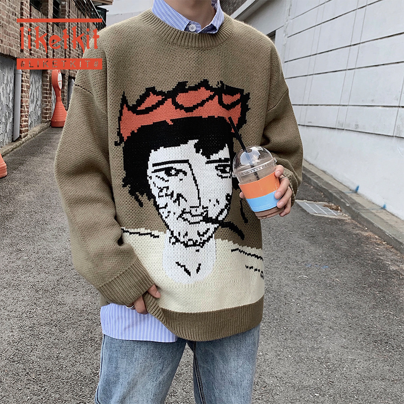 Liketkit 2020 Mens Spring New O-Neck Knitted Sweater Mens Funny Cartoon Print Jacquard Pullovers Male Casual Fashions Streetwear