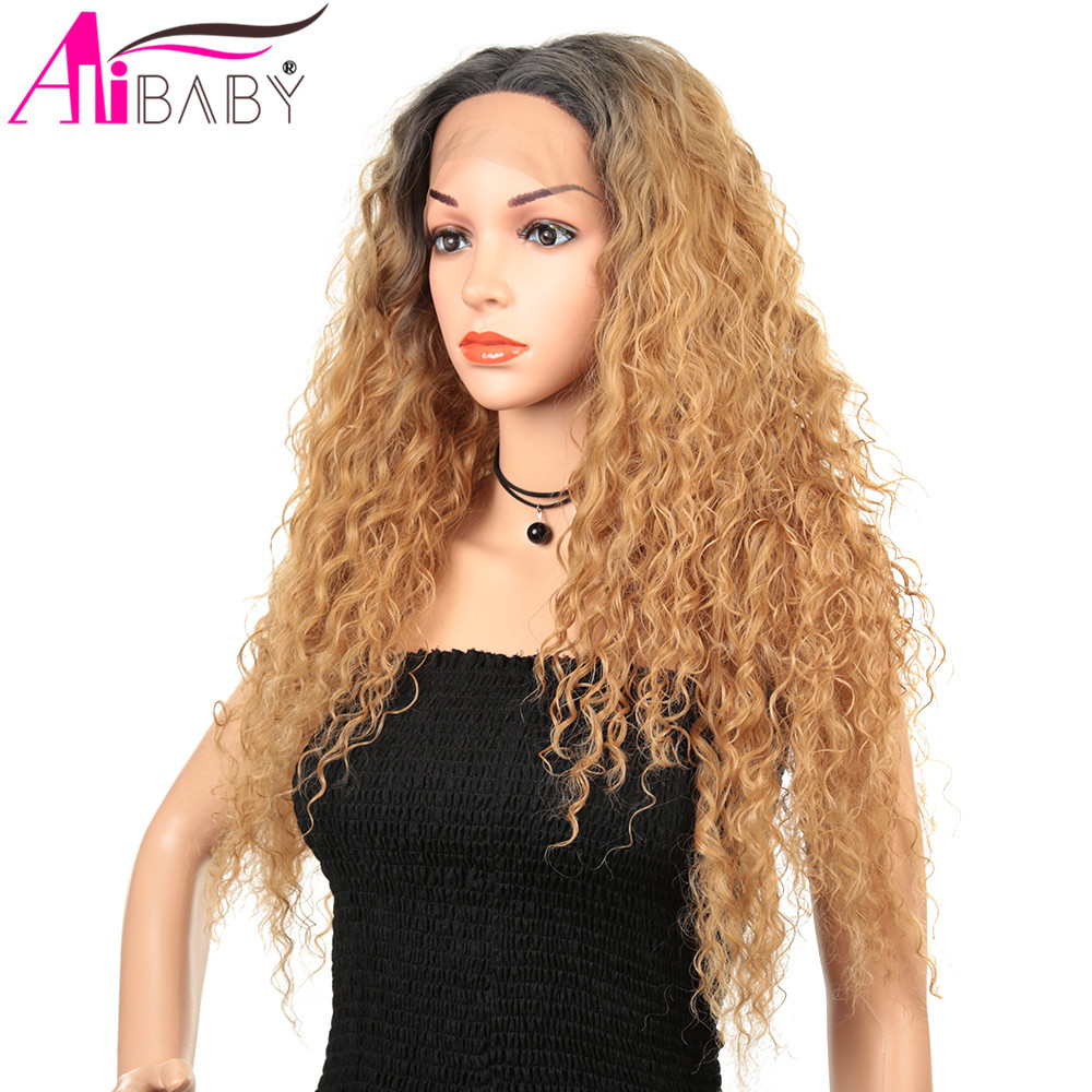 Long Synthetic Water Wave U Part Africaine Lace Front Wig Ombre Hair Wigs Glueless Middle Part Wig For Black Women  Alibaby