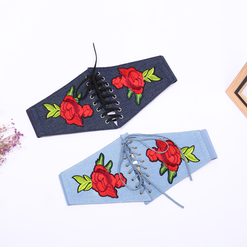 Flowers Embroidery Waist Seal Fashion Ladies New Elastic Frenulum High Quality Blue Handmade All-match Jeans Accessories Belts
