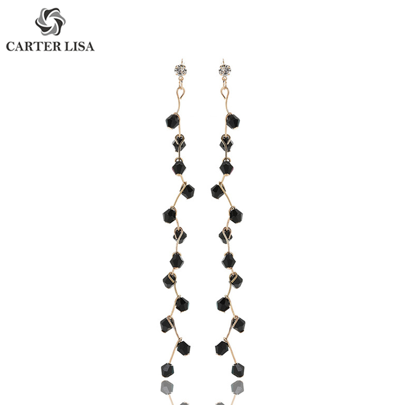 CARTER LISA Art Long Crystal Branch Drop Dangle Earings For Women Girl Fashion Jewelry Party Christmas Gifts Brincos Oorbellen