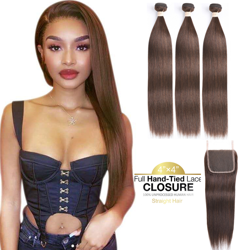 Brown Bundles With Closure Human Hair Bundles With Closure Dark Brown Brazilian Straight Hair Bundles With Lace Closure Non Remy