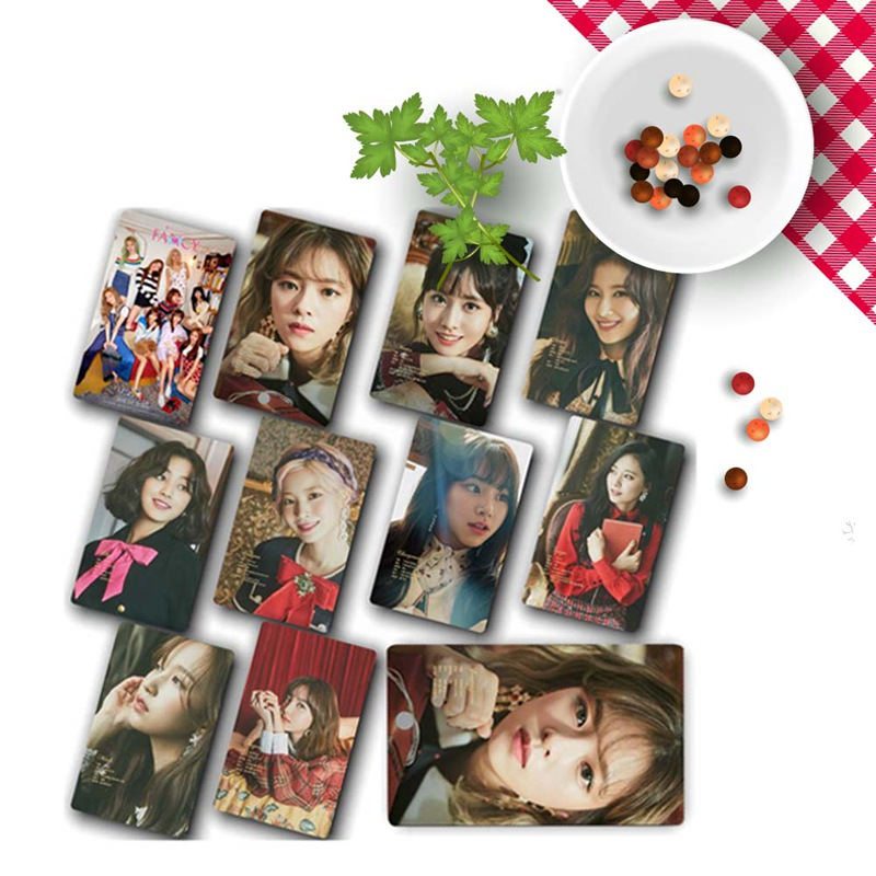 10Pcs/Set TWICE FANCY YOU New  Album Photo Cards Self Made Paper Photocard Crystal Card Sticker