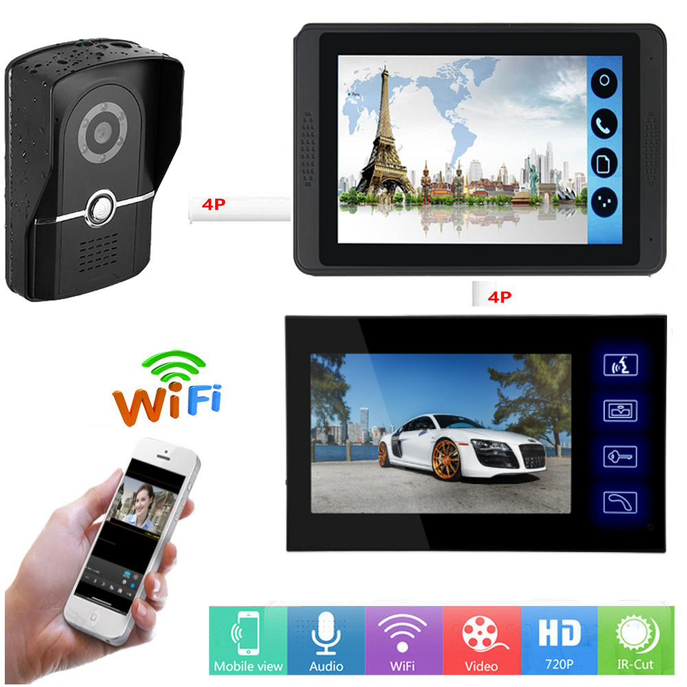 APP Remote Unlock Video Intercom 7 Inch LCD Wifi Wireless Video Door Phone Doorbell Camera Visual Speakerphone Intercom System
