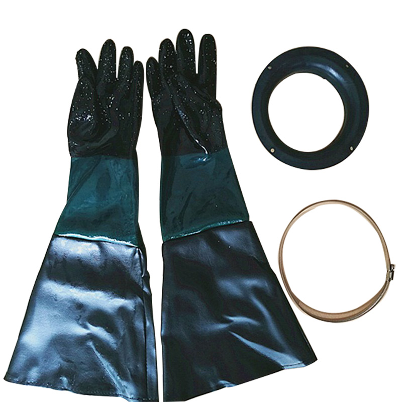 HOLDWIN Sandblasting Gloves Rubber Sand Blaster Glove 60cm With O Rings