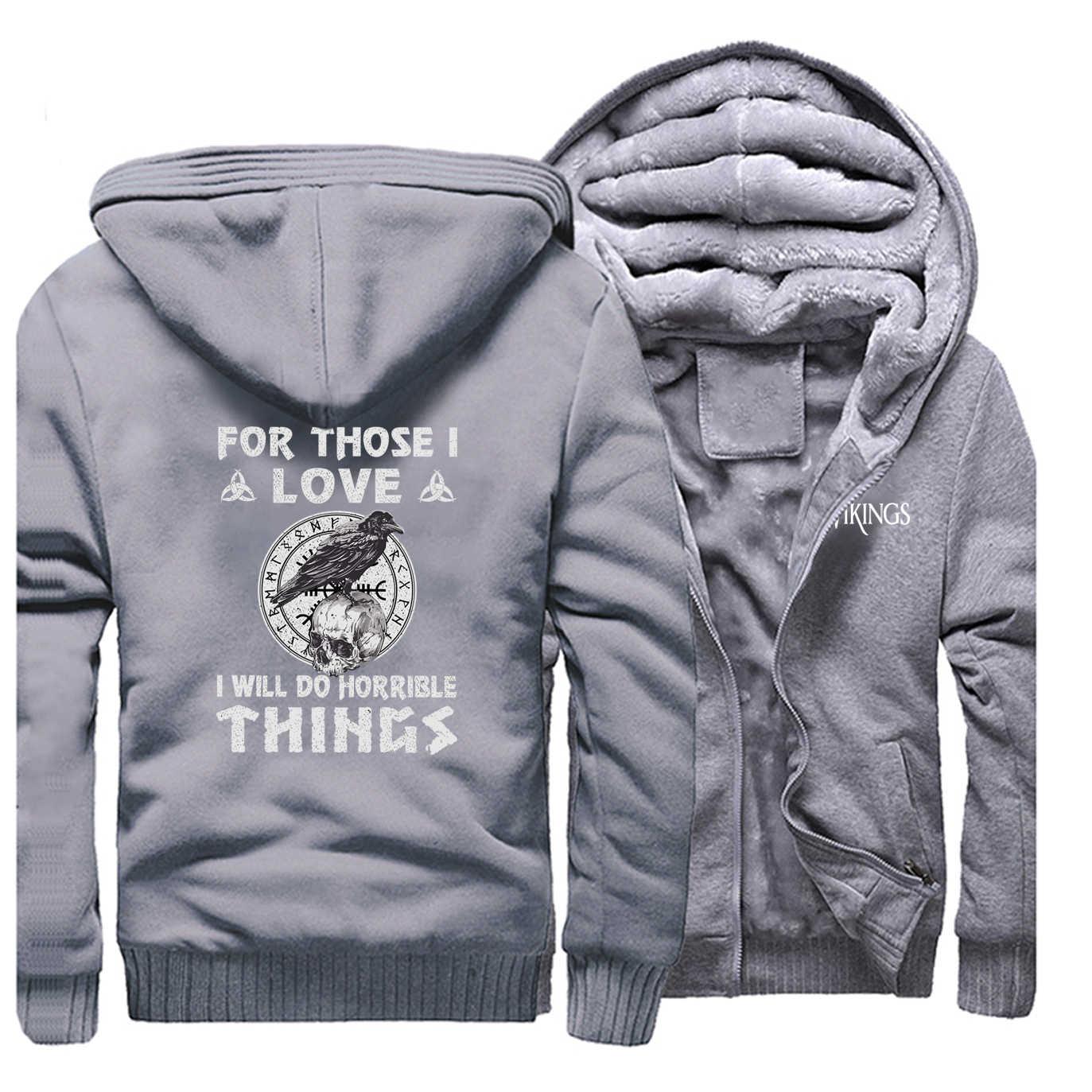 Odin Vikings เสื้อแจ็คเก็ตผู้ชายเสื้อ Lothbrok Lagertha Athelstan Crow Hoodies ฤดูหนาวหนาซิปเสื้อขนแกะ Outwear PLUS ขนาด