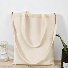 1pcs Large Capacity Folding Canvas Shopping Bag Casual Anti Tear Eco Friendly Men Women Fashion Handbag Solid Natural