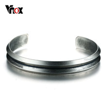 Vnox Simple Retro Indentation Bangle Bracelet For Women High Quality Stainless Steel Cuff Bracelets Pulseiras Jewelry(China)