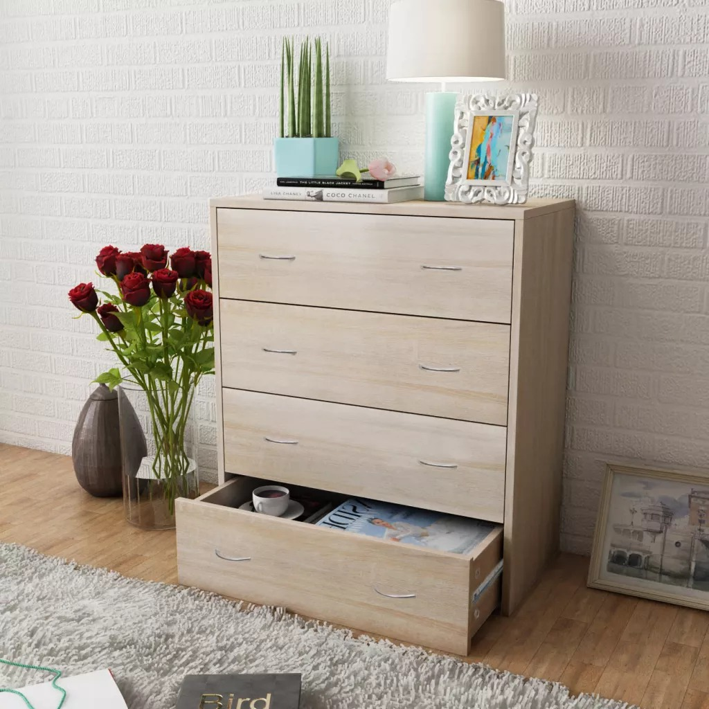 vidaXL Sideboard with 4 Drawers 60 x 30.5 x 71cm Oak Colour Living Room Cabinets