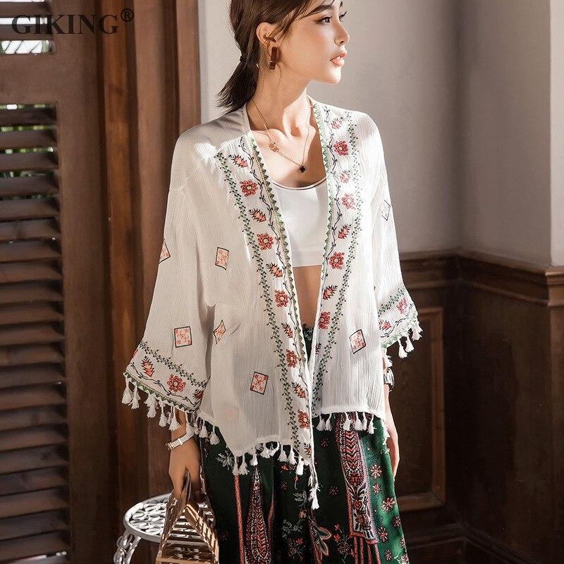 GIKING Bohemian Kimonos кардиган женский 2019 длинный рукав кисточка белая шифоновая блузка цветочный принт пляжное кимоно кардиган feminino
