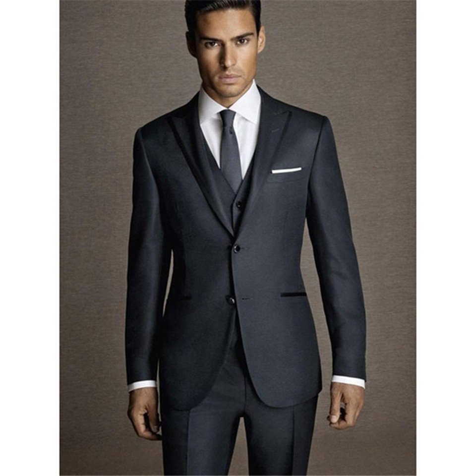 New Classic Men's Suit Smolking Noivo Terno Slim Fit Easculino Evening Suits For Men Dark Grey Groom Peaked Lapel Groomsmen Masc