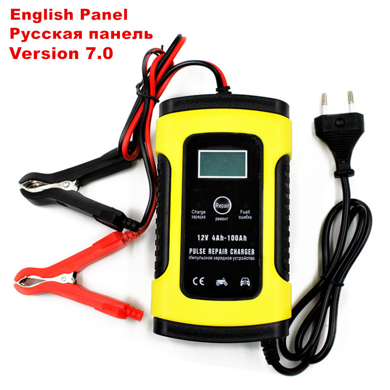 Full Automatic Car Battery Charger 110V to 220V To 12V 6A Intelligent Fast Power Charging Wet Dry Lead Acid Digital LCD Display(China)