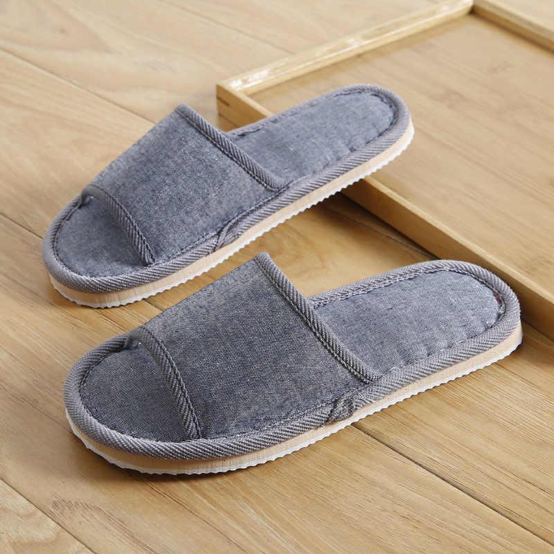 2020 sapatos de linho feminino casa chinelos de piso interior sapatos verão das mulheres mute chinelos sandálias