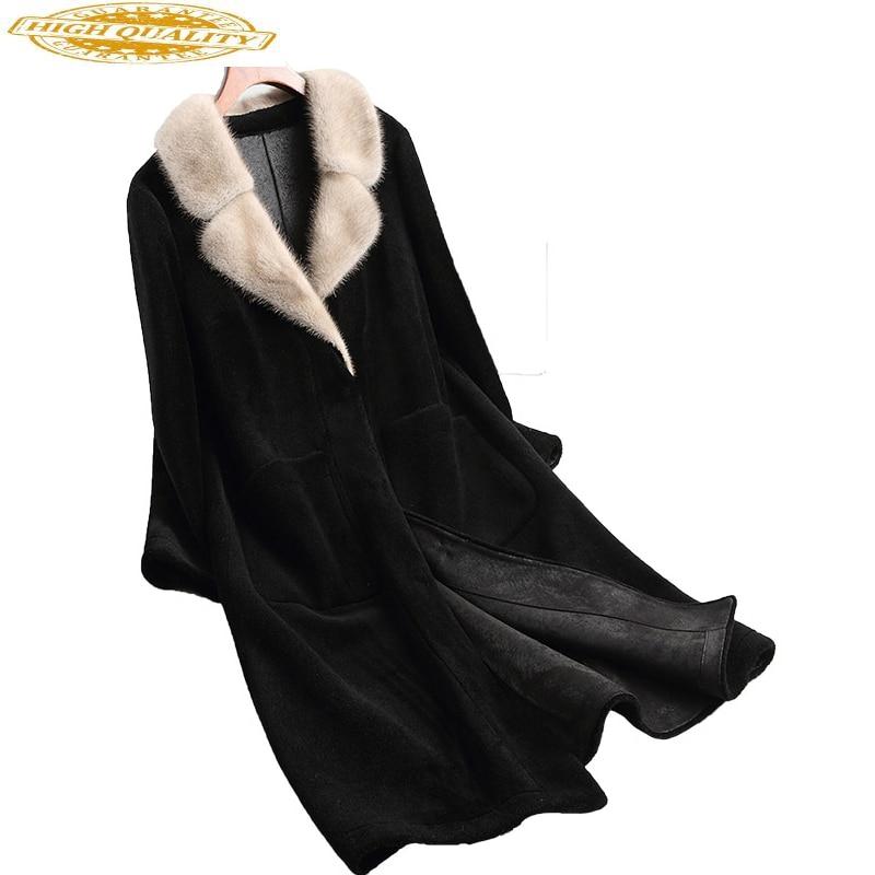 2020 New Wool Real Fur Coat Female Sheep Shearing Coats For Women Natural Mink Fur Collar Long Winter Jacket 68281YQ1815