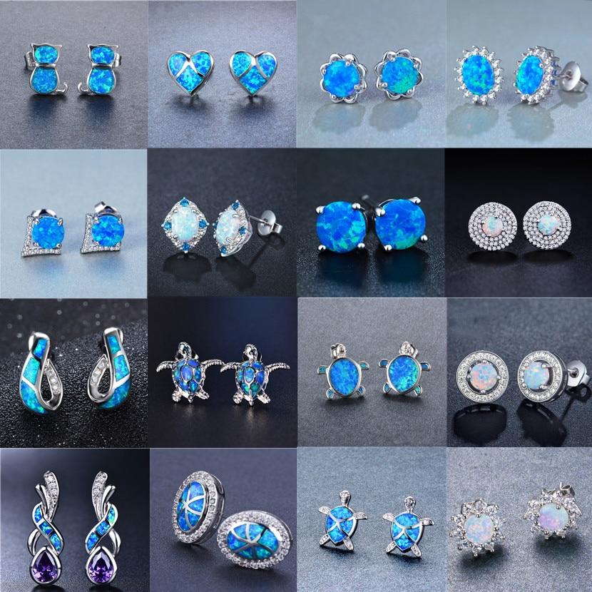 FDLK винтажные синие мужские серьги-гвоздики с огненным опалом с серебряным покрытием, женские серьги на свадебную вечеринку, лучший подарок