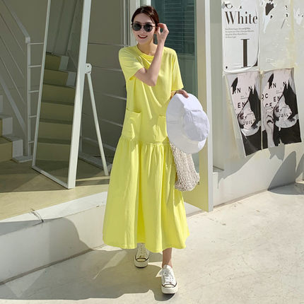 Loose And Plus-sized Dress Korean-style Over-the-Knee Long Flounced GIRL'S Dress Large Pocket T-shirt Long Skirts Short Sleeve A