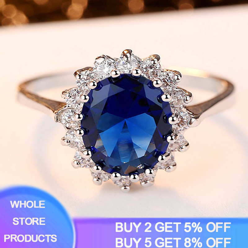 YANHUI Trendy Gemstones Silver Ring Blue Sapphire Ring Silver 925 Jewelry Aquamarine Rings For Women Engagement Rings R345