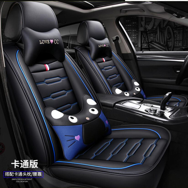 High Quality PU Leather car seat cover For Renault Clio / For Nissan March Micra K13 MK4 IV ( Front + Rear ) 5 seat Seat cushion