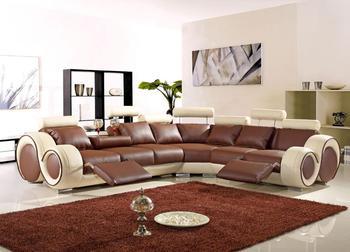 U shape leather corner sofa with a recliners living room sofa set furniture