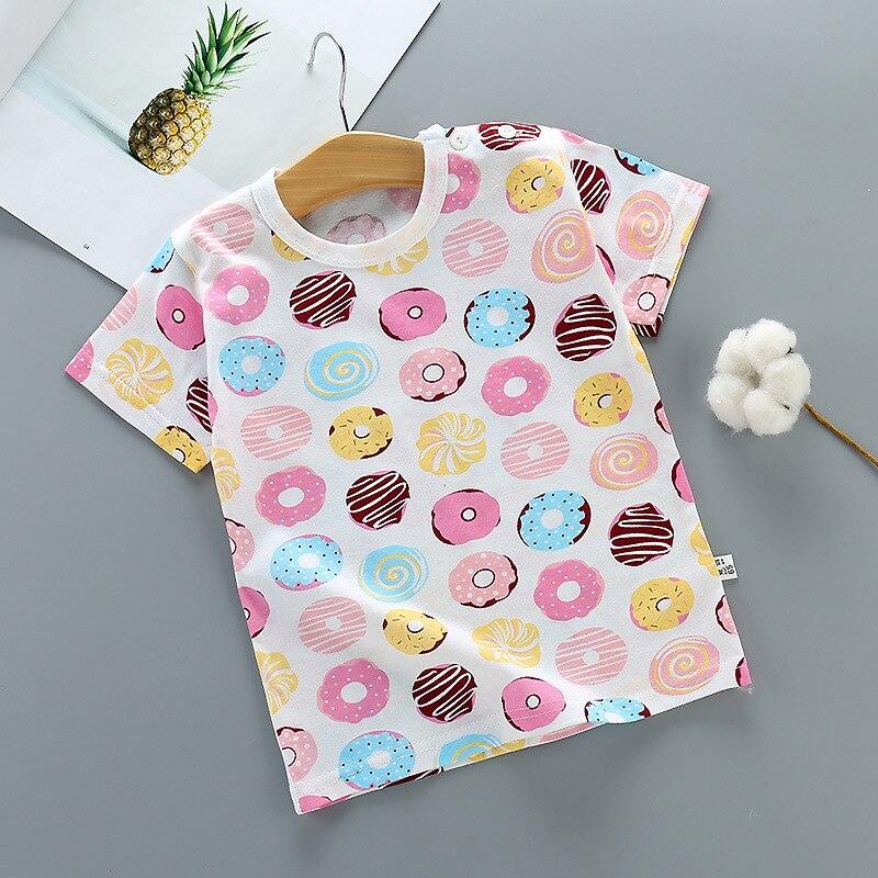 Летняя футболка для маленьких мальчиков и девочек, детские футболки с мультяшными животными и пончиком, футболка, размер От 1 до 6 лет, Детская Хлопковая одежда|Тройники| - AliExpress