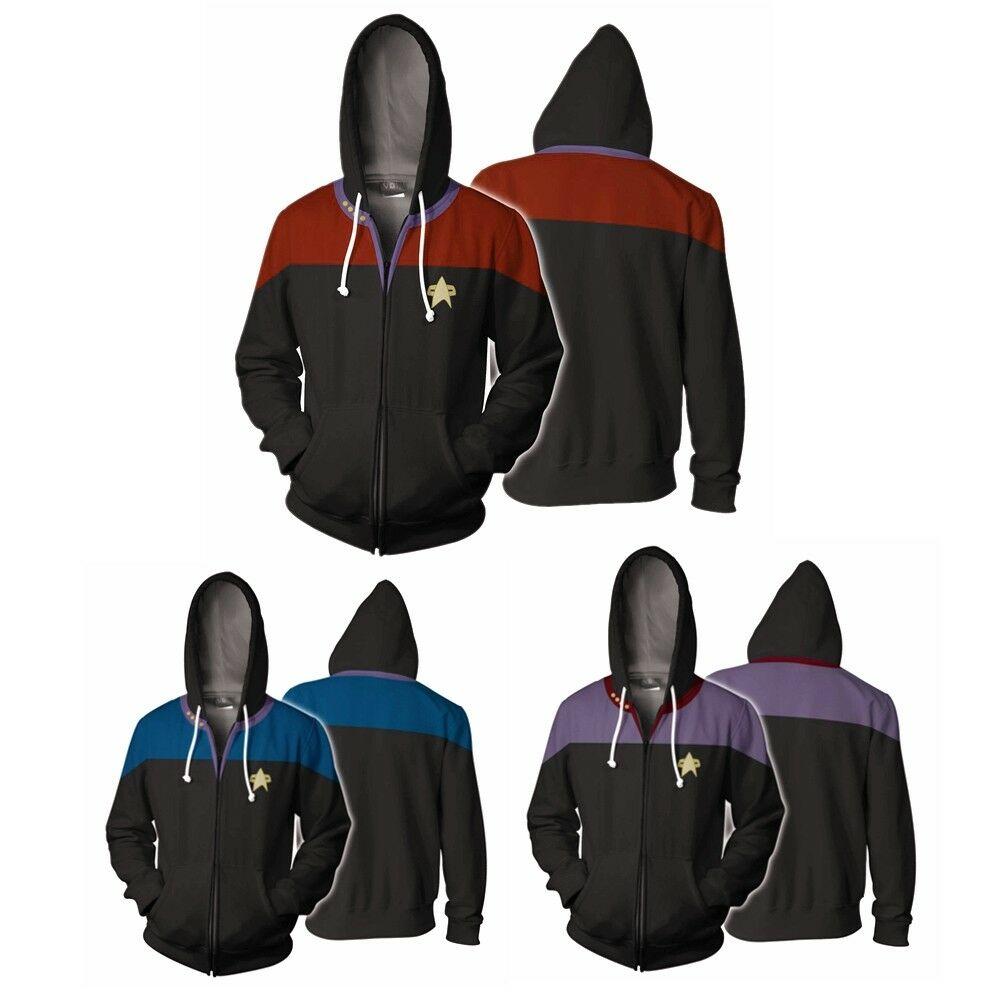 Star Voyager Command Cosplay Star Costume Hoodie Trek Hoodie Sweatshirt 3D Print Zipper Jacket Sweatshirts Coat Tracksuit