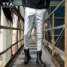 Spring Summer New Mens Slim Fit Faux Leather Pencil Pants Korean Moto Biker Soft Stretch Full Length Male PU Leather Trousers