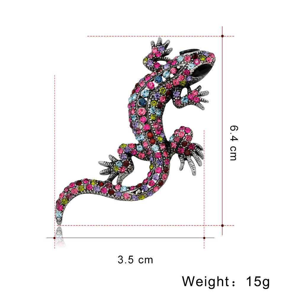 Vendita di Cristallo Vintage Lizard Spilla per Le Donne Dei Monili Del Metallo Dello Smalto Spilli Vestito Degli Uomini Spilla Animale Accessori di Abbigliamento