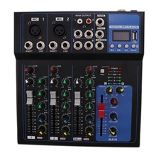 4 Channels Bluetooth DJ Mixer Sound Mixing Console with USB MP3 Jack Live Audio Mixer for Karaoke KTV /EU Plug