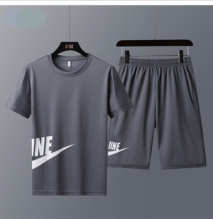 New Brand Men's Sportswear Summer Men's Sports Suit Fitness Clothes Short-sleeved T-shirt + Shorts Quick-drying 2 Sets