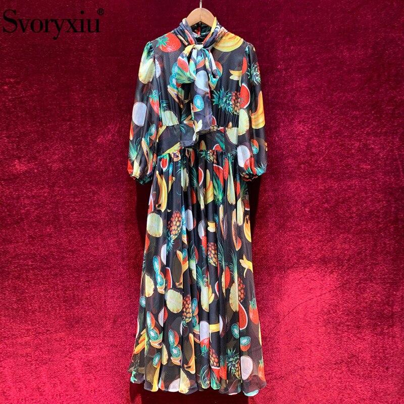 Svoryxiu 2020 Spring Summer Runway Fruit Print Chiffon Long Dress Women's Elegant Bow Collar Lace Lining Vintage Party Dresses