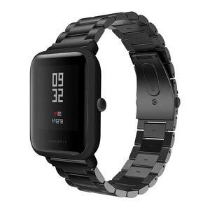 Image 3 - 20 มม.สร้อยข้อมือสำหรับXiaomi Huami Amazfit Smartสมาร์ทนาฬิกาสายโลหะสแตนเลสสตีลเข็มขัดสำหรับAmazfit Bipสายรัดข้อมือ