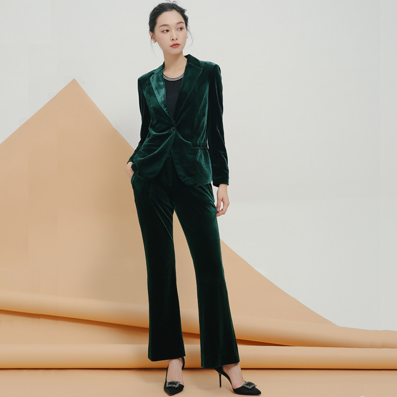 High Quality Gold Velvet Suit Velvet Jacket Micro-horn Straight Trousers 2 Sets Of Women's Fashion Slim Temperament Two-piece